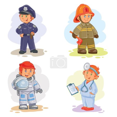 Photo for Set of icons of small children police, firefighter, astronaut, doctor - Royalty Free Image