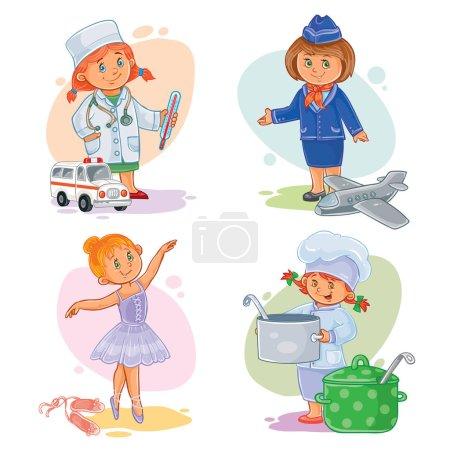 Photo pour Ensemble d'icônes de petits enfants médecin, hôtesse de l'air, danseuse, cuisinière - image libre de droit
