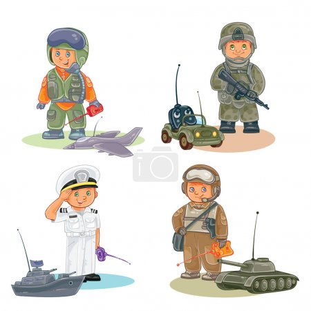 Set icons of small children different professions