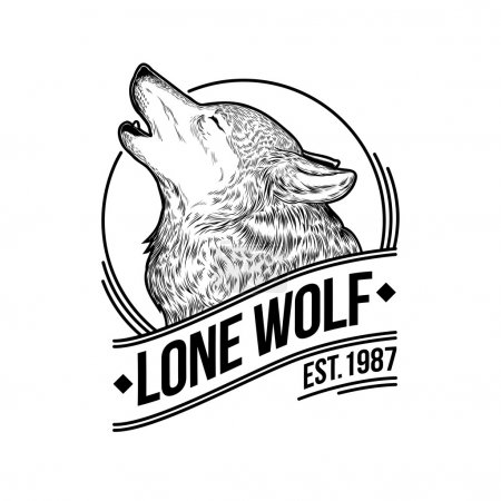 Illustration for Vector illustration of a howling wolf, engraving. Print for T-shirts, emblem, logo, insignia - Royalty Free Image