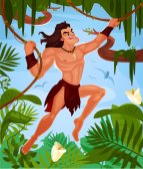 Vector illustration of a naked Tarzan swinging on vines