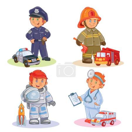 Photo pour Ensemble d'icônes vectorielles de petits enfants police, pompier, astronaute, médecin avec leurs véhicules - image libre de droit