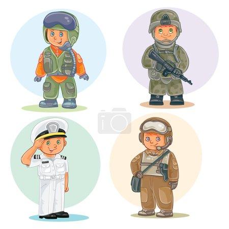Photo pour Ensemble d'icônes vectorielles de petits enfants aviateur, soldat, marin et pétrolier - image libre de droit