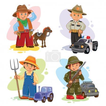 Photo pour Ensemble d'icônes vectorielles de jeunes enfants cow-boy, shérif, agriculteur, soldat et leur véhicule - image libre de droit