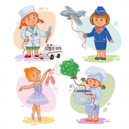 Photo pour Ensemble d'icônes vectorielles de petits enfants médecin, hôtesse de l'air, danseuse, cuisinière - image libre de droit