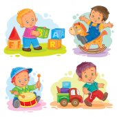 Set of vector icons little boy playing with toys