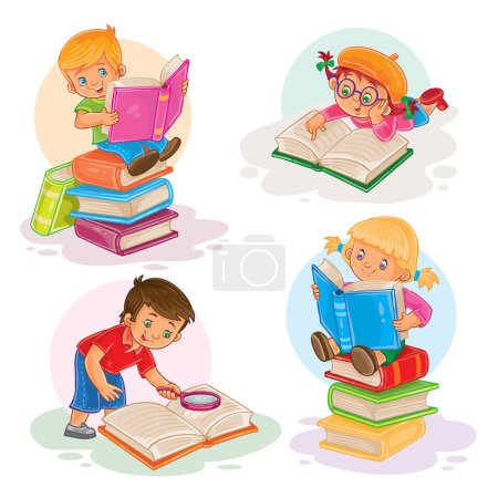 Photo pour Ensemble d'icônes vectorielles de jeunes enfants lisant un livre - image libre de droit