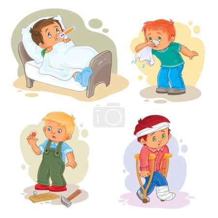 Illustration for Set of vector icons little boy sick - Royalty Free Image