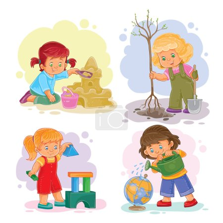 Photo pour Un ensemble d'icônes vectorielles de petites filles jouant avec des jouets - image libre de droit