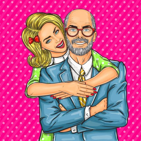 Illustration for Vector illustration of a elderly father and his beloved daughter - Royalty Free Image