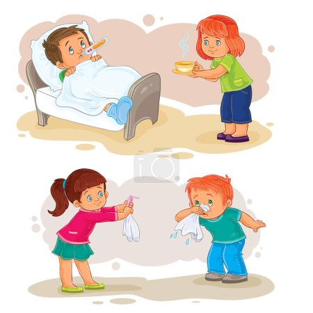 Illustration for Set of vector clip art illustrations little boy sick and compassionate girl - Royalty Free Image