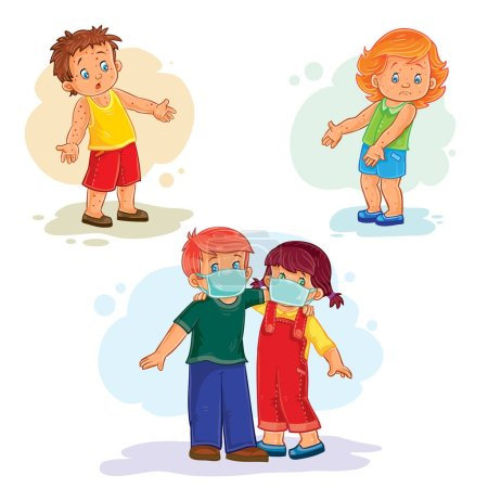 Illustration for Set of vector icons little children sick - Royalty Free Image
