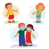 Set icons little children sick