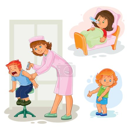 Illustration for Set of vector icons little girl sick - Royalty Free Image