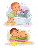 Two vector clip art illustration on one small child bathes her teddy-bear the second - the baby slept on towels