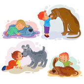 Collection of vector clip art illustrations of little boys and their dogs
