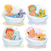 Set of vector clip art illustrations of little kids take a bath together with his dogs