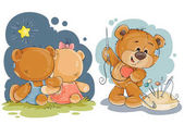 Set of vector clip art illustrations of enamored teddy bears in various poses - sitting embracing admiring the stars he sews himself heart