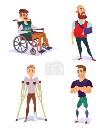 Illustration for Set of vector cartoon illustrations of people with disabilities. Young and elderly men with limited opportunities in a wheelchair, on crutches, with prosthetic legs, with a broken arm - Royalty Free Image