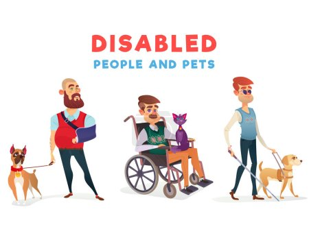 Illustration for Set of vector cartoon illustrations of people with disabilities with pets. Men with limited opportunities with special dog-guide, therapy dog and cat - Royalty Free Image