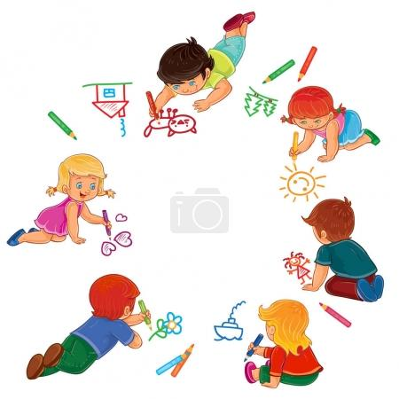 Vector little boys and girls draw with colored pencils.