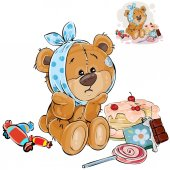 Vector illustration of a brown teddy bear sweet tooth ate a lot of sweets and now he has a toothache Print template design element