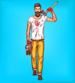 Vector pop art brutal bearded man macho with blood stained ax holds the head of a dead zombie