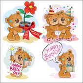 Set of vector clip art illustrations of brown teddy bear wishes you a happy birthday Print template design element for greeting cards