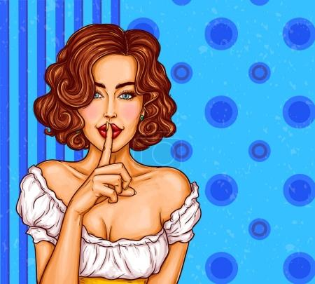 Vector pop art illustration of a sexy girl holding her finger on her lips and asking for silence