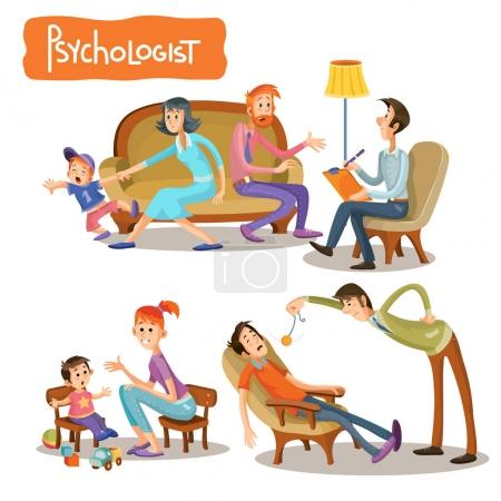 Set of cartoon illustrations with a psychologist