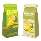 Vector realistic illustration packing for exotic durian fruit isolated on white background Template mock up package design for chips of durian fruit with brand information