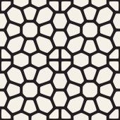 Vector Seamless Black and White Rounded Lace Pattern Abstract Geometric Background Design