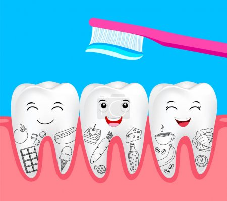 Cute cartoon tooth character with food and toothbrush. Hand draw style. Dental care concept. Illustration isolated on blue background.