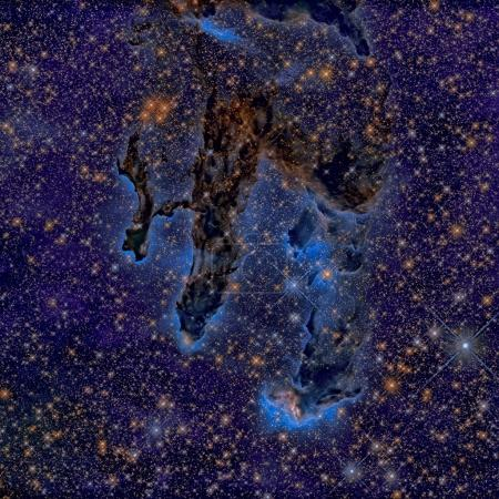 The Pillars of Creation. Infrared view of the Eagl...