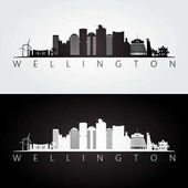 Wellington skyline and landmarks silhouette black and white design vector illustration