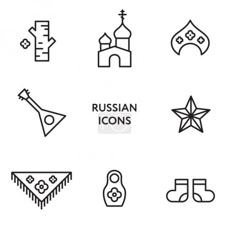 Russian flat line icon set. Culture Signs Russia