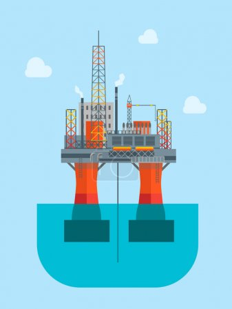Cartoon Oil Platform. Vector