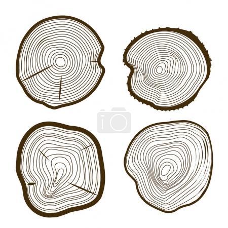 Illustration pour Arbre Anneaux Set scie tronc coupe Web Design Style en bois Nature Texture. Illustration vectorielle - image libre de droit