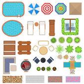 Cartoon Landscape Design Elements Set Top View. Vector
