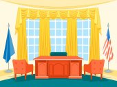 Cartoon Interior President Government Office or Cabinet with Furniture Flat Style Design Elements Vector illustration