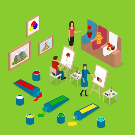 Artist Palette Workplace Interior Concept 3d Isometric View. Vector