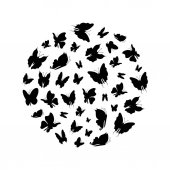 Silhouette Black Fly Flock Of Butterflies Round Design Template Vector