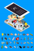 Social Media Promotion Online Concept and Elements Part 3d Isometric View Vector