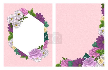Illustration for Wedding floral invitation card, save the date design with pink, red flowers - roses and green leaves wreath and frame. Botanical elegant decorative vector template - Royalty Free Image