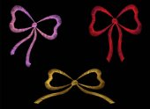 Set of embroidered ribbons red pink gold traditional