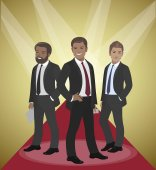 Business team of employees and the boss international group vector illustration rays fame success