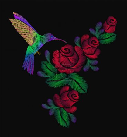 Embroidery lovely birds circling over the red roses