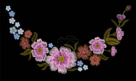 Illustration pour Broderie motif floral or avec des roses pour chien et oubliez-moi pas de fleurs. Vecteur traditionnel ornement de mode folklorique sur fond noir . - image libre de droit