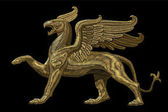 Golden textured embroidery griffin textile patch design Fashion decoration ornament fabric print Gold on black background legendary mythic heraldic character lion eagle vector illustration art