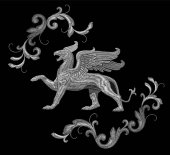 White textured embroidery griffin textile patch design Fashion decoration ornament fabric print Monochrome on black background legendary mythic fairy character lion eagle vector illustration art